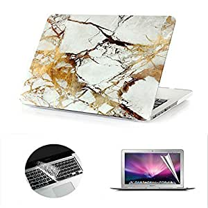Macbook Pro Retina Case, Se7enline White/Gold Marble Pattern Rubber Coated Hard Shell Cover for MacBook Pro 13 inch with Retina Display Model: A1425 and A1502 -with Keyboard Cover and Screen Protector by Se7enline