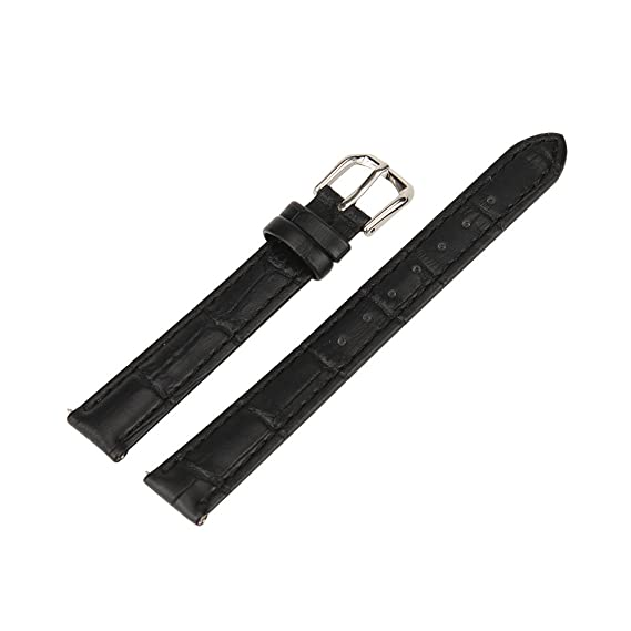 Xuexy 14mm Pebble Time Round Genuine Leather Wristwatch Watch Band Replacement Watchband Bracelet Strap Stainless Steel Buckle,Black