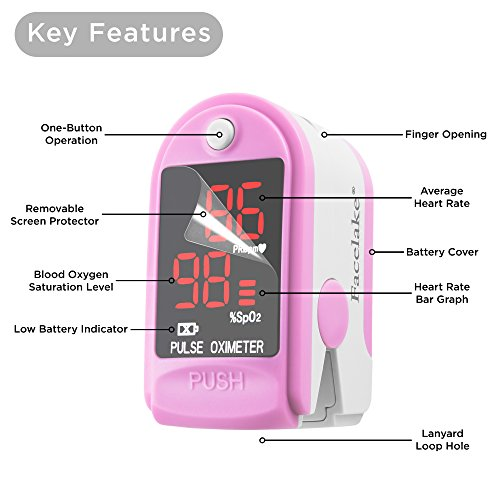 FaceLake FL400 Pulse Oximeter with Carrying Case, Batteries, Neck/Wrist Cord Pink