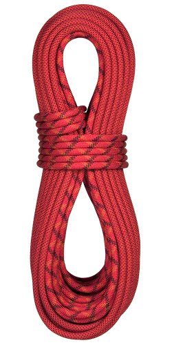 BlueWater Ropes 10.5mm Accelerator Double Dry Dynamic Single Rope (Bi-Pattern Red, 60M)