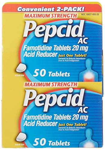 Pepcid AC Maximum Strength, Acid Reducer Tablets, 50 Count (Pack of 2)