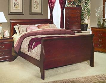 cherry finish twin size sleigh bed - Twin Sleigh Bed