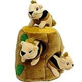 Outward Hound 31011 Hide-A-Squirrel Squeak Toy Dog Toys 4-Piece, Large, Brown