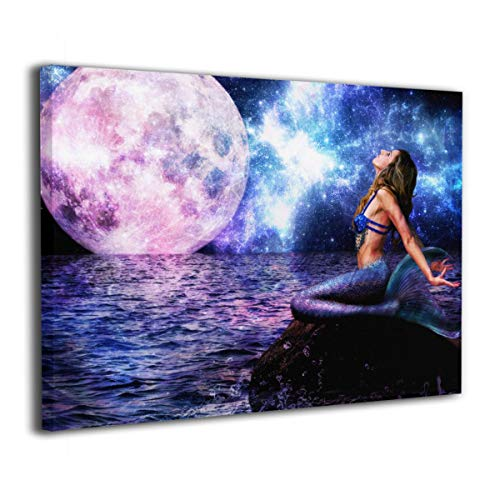 Rolandrace Mermaid Sea Moon Night Horizon Fantasy Girls -Canvas Prints Wall Art Decor Abstract Wall Artworks Pictures for Living Room Bedroom Decoration-12x16 Inch