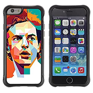 Be-Star único patrón Impacto Shock - Absorción y Anti-Arañazos Funda Carcasa Case Bumper Para Apple iPhone 6(4.7 inches) ( Polygon Art Retro Man Poster Guy )