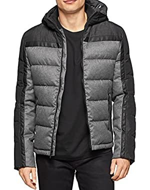 Calvin Klein Mens Hooded Faux Leather Trim Coat