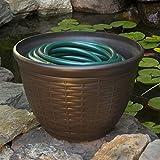 """Liberty Garden Products 1920 High Density Resin Wicker Design Garden Hose Pot - 18"""" Diameter x 12"""" High"""