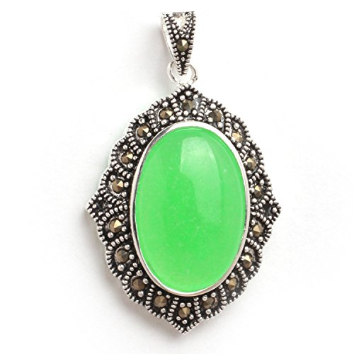 GEM-inside 26x42mm Oval Dyed Green Jade Beads Marcasite Tibetan Tibetan Silver ()