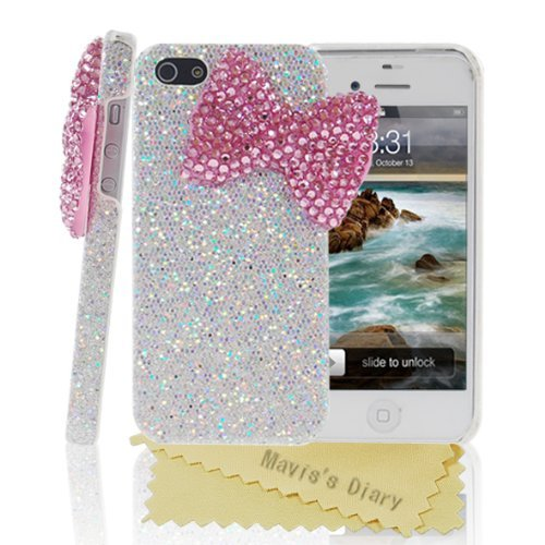 Bling Handmade 3D Stylish Big Pink Bow Shining Back Case Cover for Apple Iphone 4 4S
