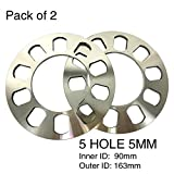 TIROL 2PCS Universal Wheel Spacer 5hole Disc Brake Spacer Kit 5MM Thick wheel spacer