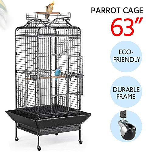 Yaheetech Wrought Iron Rolling Extra Large Open Playtop Bird Cage for Mini Macaw Goffin's Cockatoo Cockatiels African Grey Amazon Parrots Sun Parakeets Conures Caique Bird Cage with Rolling Stand