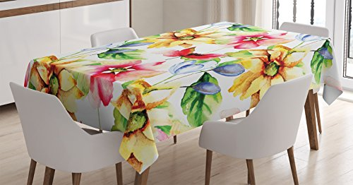 Watercolor Tablecloth Ambesonne Decorations Rectangular
