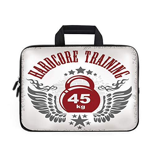 Fitness Laptop Carrying Bag Sleeve,Neoprene Sleeve Case/Bodybuilding Themed Emblem in Vintage Style Hardcore Training Wings Stars/for Apple Macbook Air Samsung Google Acer HP DELL Lenovo AsusRed White
