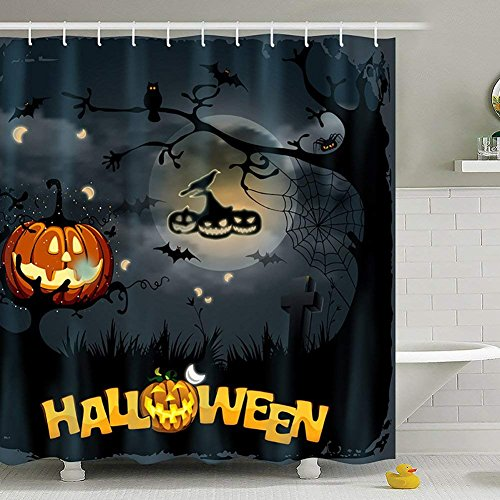 Yomyceo Halloween Scary Ghost Pumpkin Witch Waterproof Antibacterial Polyester Shower Curtains with Hooks Bathroom Home Decorative Night Theme by Yomyceo