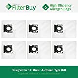 6 - Miele KK Vacuum Bags, Miele Part # 05588951. Designed by FilterBuy to replace Miele AirClean KK Vacuum Dust Bags