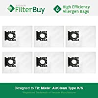 6 - FilterBuy Miele KK Replacement Vacuum Bags, Miele Part # 05588951. Designed by FilterBuy to replace Miele AirClean KK Vacuum Dust Bags