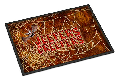 Caroline's Treasures Jeepers Creepers with Bat and Spider Web Halloween 24X36 Doormat, 24