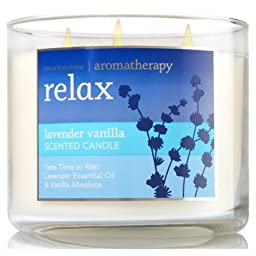 Bath and Body Works 3-wick Limited Edition Candle AROMATHERAPY COLLECTION (Relax - Lavender Vanilla)