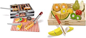Melissa & Doug Wooden Grill & Serve BBQ Set & & Doug Cutting Fruit