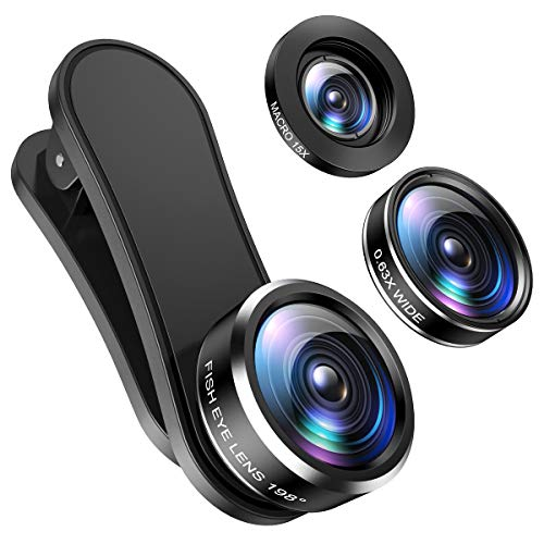 (2019 New) Criacr Phone Camera Lens, 198°Fisheye Lens, 0.63X Macro Lens and 15XWide Angle (Screwed Together), Clip on 3 in 1 Cell Phone Lens Kit Compatible with iPhone, Most Android Phones, Samsung