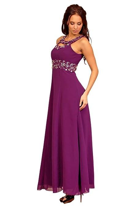 My Evening Dress - Vestido largo de gasa fiesta y coctel con pedreria: Amazon.es: Ropa y accesorios