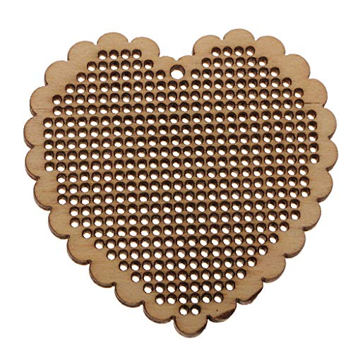 Prettyia Natural Wood Embellishments Shapes Blank Pendants for DIY Embroidery Counted Cross Stitch, Jewelry Pendants Charms Making Supplies, 3 Shapes - Heart Charm Counted Cross Stitch