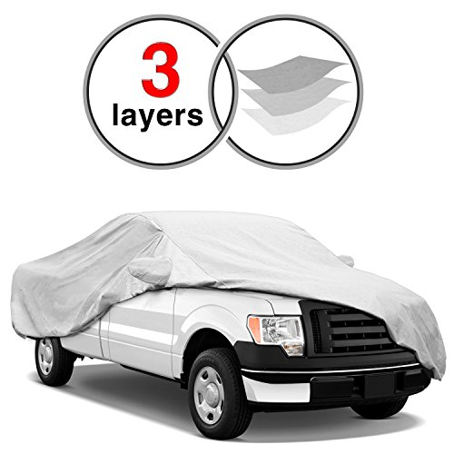 KAKIT F150 Truck Cover for Ford F150 2001-2017, 3 Layers All Weather Waterproof, Windproof Dustproof Scratch Proof F150 Car Cover for Summer Outdoor, Free Windproof Ribbon ()