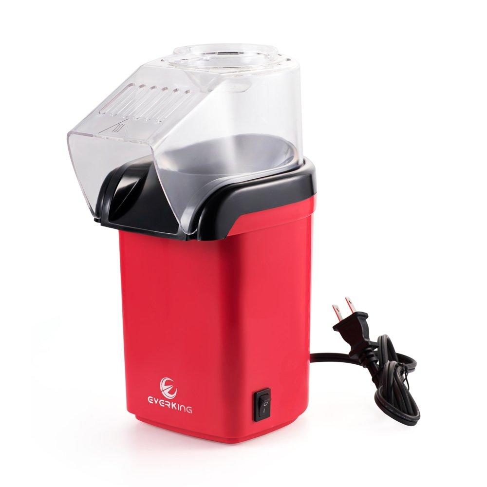 EverKing Popcorn Popper Air, Household Air Popped Popcorn Maker Electric, Air Popper Popcorn Machine Mini Red 1200Watt (Red - A) Top-Elecmart