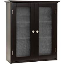 Best Choice Products Bathroom Wall Storage Cabinet w/ Tempered Glass Doors (Espresso)