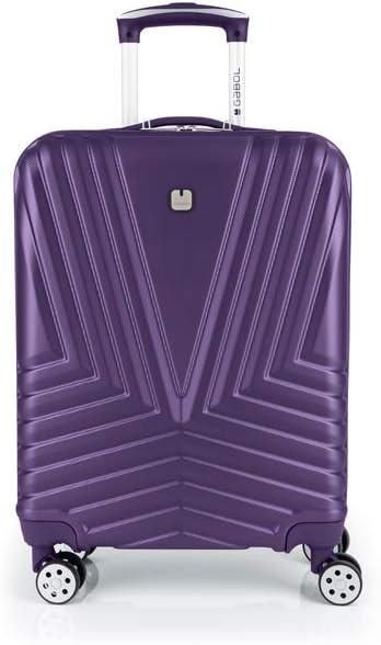 Gabol - Atlanta | Maleta de Cabina con Cargador USB Rigida de 40 x 55 x 20 cm con Capacidad para 34 L de Color Morado
