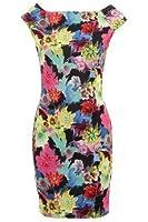 FANTASIA BOUTIQUE ® Ladies Sleeveless Multi Colour Floral Print Stretch Bodycon Women's Short Dress