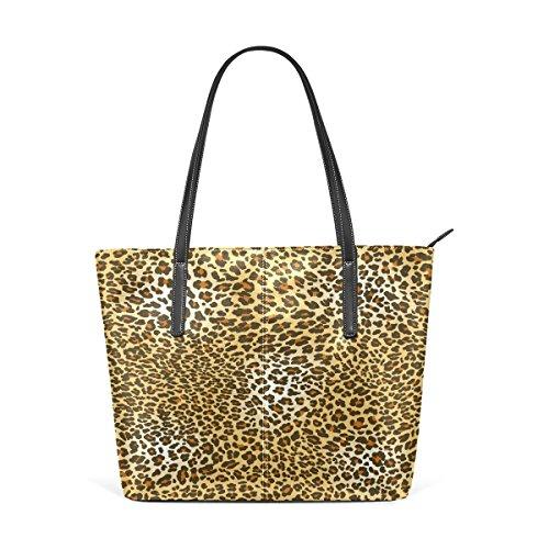 (WOZO Leopard Print Tiger Skin PU Leather Shoulder Tote Bag Purse for Women Girls)
