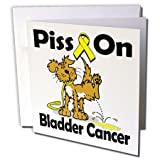 3dRose Piss On Bladder Cancer Awareness Ribbon Cause Greeting Cards, 6'' x 6'', Set of 6 (gc_115793_1)