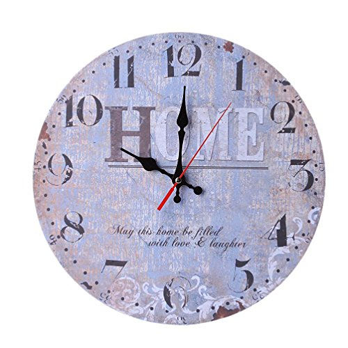 12 Inch Retro Wooden Wall Clock Farmhouse Decor,KingWo Silent Non Ticking Wall Clocks Large Decorative - Big Wood Atomic Analog Battery Operated - Vintage Rustic Colorful Tuscan Country Outdoor (A)