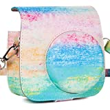 CAIUL Compatible Mini 9 Groovy Camera Case Bag for Fujifilm Instax Mini 8 8+ 9 Camera - Rainbow Mist