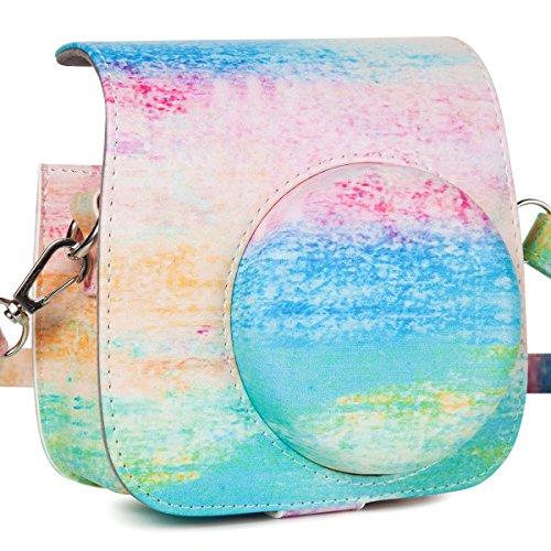 CAIUL Compatible Mini 9 Groovy Camera Case Bag for Fujifilm Instax Mini 8 8+ 9 Camera - Rainbow Mist