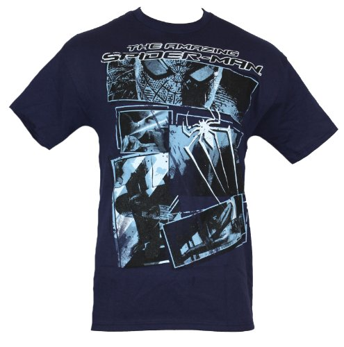 Spider-man Marvel Comics Mens T-Shirt - Amazing Light Blue Movie Pic Collage (Large) Navy Blue