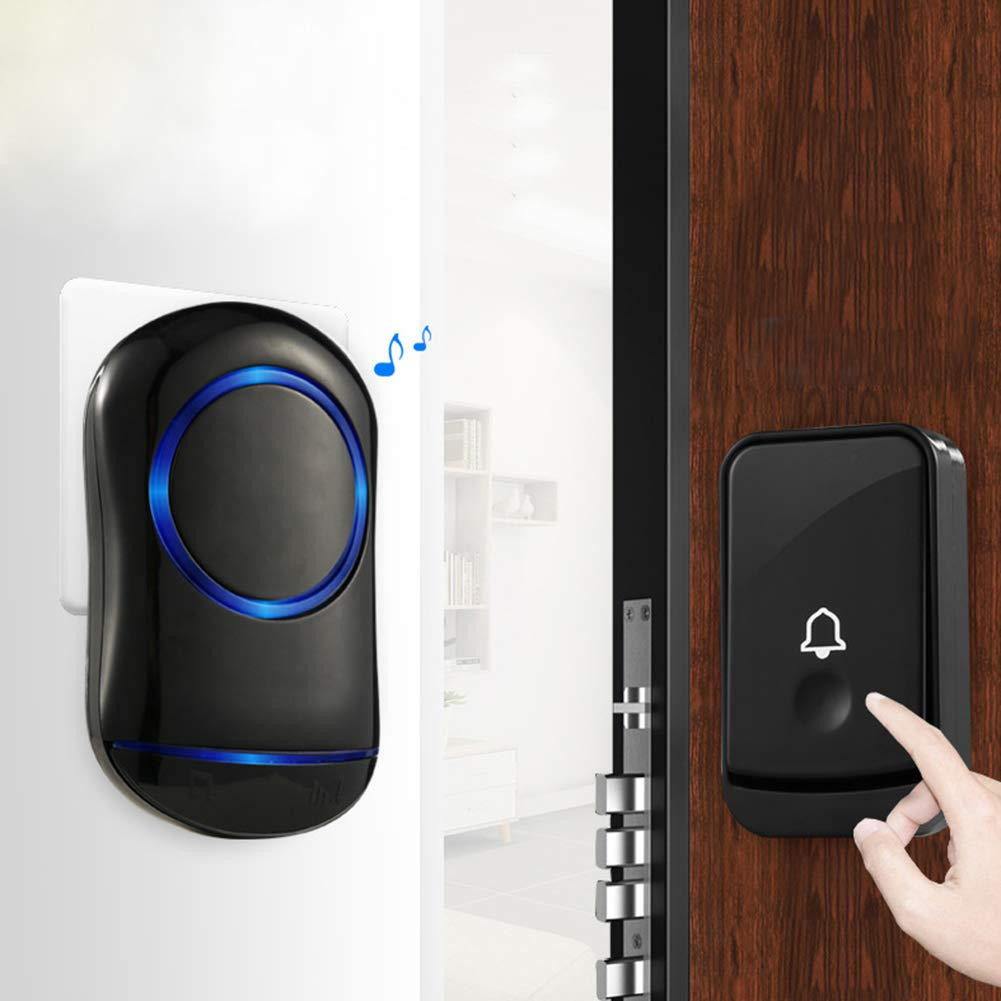 WXLAA Home Waterproof Wireless Doorbell 45 Songs Chime Door Bell 1 Transmitter 2 Receiver 300M Black EU Plug by WXLAA (Image #3)