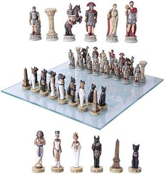 Faraón egipcio vs César Imperio Romano resina de piezas de ajedrez con junta de cristal Set: Amazon.es: Deportes y aire libre