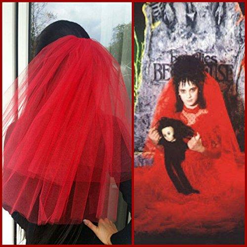 Halloween party Veil 2-tier red, Halloween costume idea. Lydia Deetz halloween costume veil. Bachelorette veil, long length. Halloween (Lydia Beetlejuice Halloween Costume)