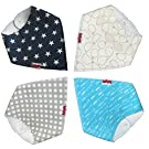 Baby Bandana Drool Bibs with Snaps. 4-Pack Absorbent Cotton Boys, Girls Gift