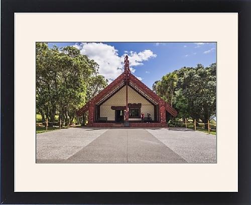 Framed Print of Maori Meeting House, Waitangi Treaty Grounds, Bay of Islands, Northland Region (Bay House)