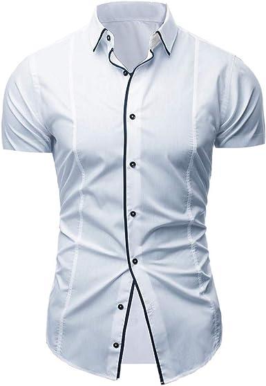 Blusa de Manga Corta con Cuello Alto, Estilo Casual, para Hombre, con Botones - Beige - XX-Large: Amazon.es: Ropa y accesorios