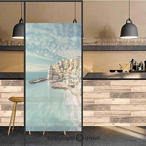 3D Decorative Privacy Window Films,Panorama of Old Italian Fish Village Beach Old Province Coastal Charm Image,No-Glue Self Static Cling Glass Film for Home Bedroom Bathroom Kitchen Office 24x48 Inch ()