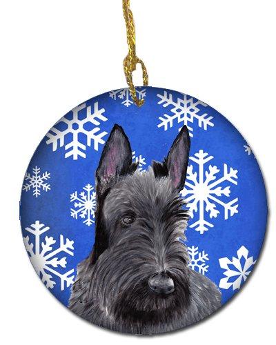 Caroline's Treasures SC9386-CO1 Scottish Terrier Winter Snowflakes Holiday Ceramic Ornament SC9386, 3 in, Multicolor