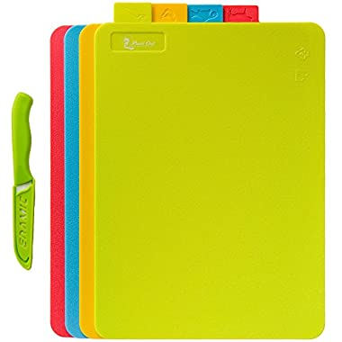 Cutting Board 4 Piece Set with Food Icons Durable BPA Free FDA Approved & Eco Friendly Has Micro Ban Protection - Dishwasher Safe Won't Warp 100% Guarantee Includes FREE Ceramic Knife!