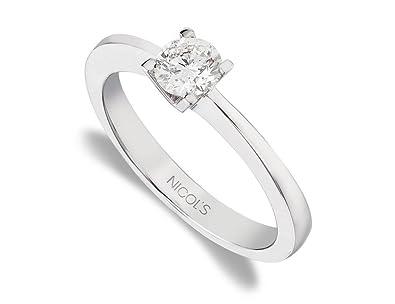 995744855cf4 NICOLS 9992028 - Anillo de Compromiso Katherine Oro Blanco (18kt) con  Diamante 0.05 Ct