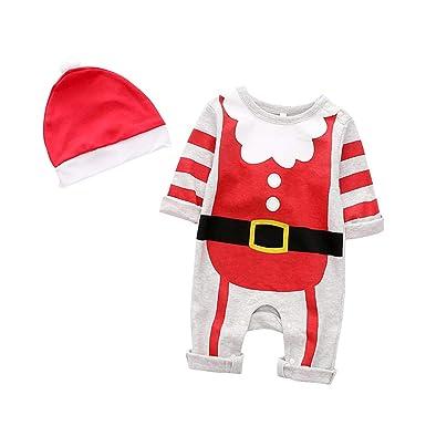 41fad1cd1702d BESTOYARD De noël Père Noël Costume Barboteuse Coton Siamois Vêtements  Mignons Combinaisons Infantile À Manches Longues