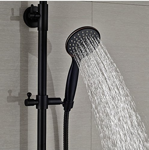 Gowe Contemporary Bath Tub Shower Set 8-in Rainfall Shower Faucet With Handheld Double Levers 3