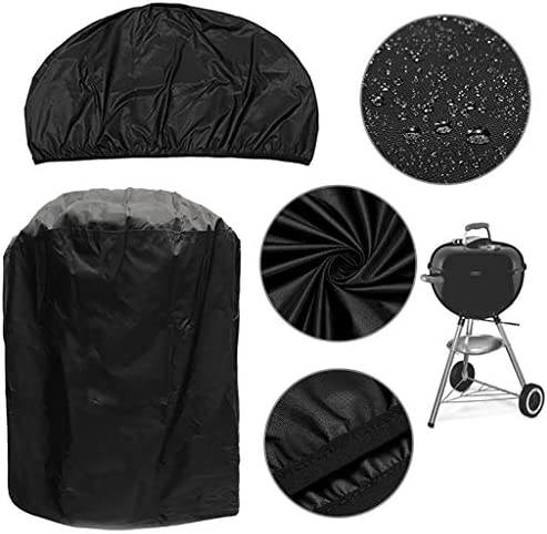 XLanY Grill Rond Noir Couverture, Résistant À l'eau Barbecue Grill Cover, Heavy Duty Outdoor Smoker Cover Gas Grill Cover Antipoussière Durable Coupe-Vent